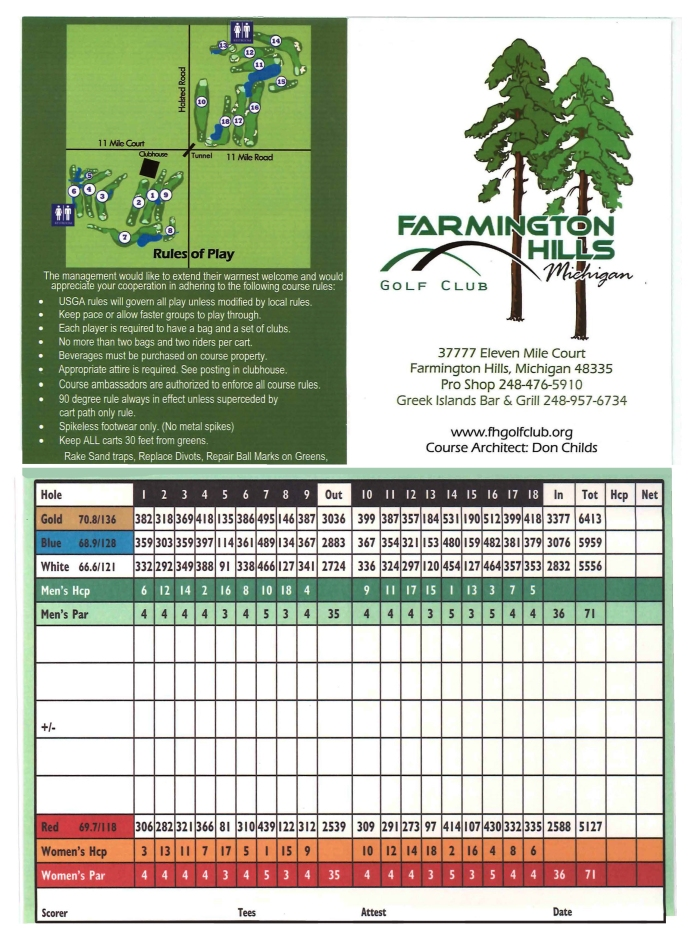 Farmington Hills Golf Course Score Card